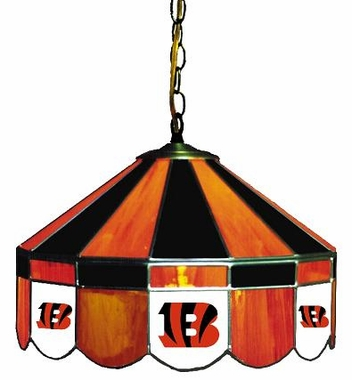 Cincinnati Bengals 16 Inch Diameter Stained Glass Pub Light