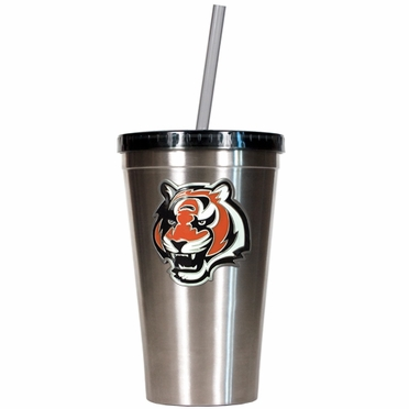 Cincinnati Bengals 16oz Stainless Steel Insulated Tumbler with Straw