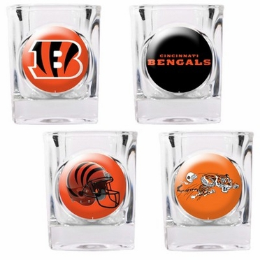 Cincinnati Bengals 4 Piece Assorted Shot Glass Set