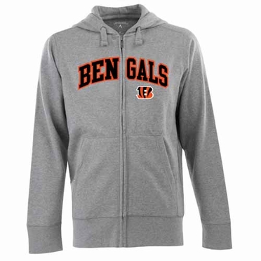 Cincinnati Bengals Mens Applique Full Zip Hooded Sweatshirt (Color: Gray)