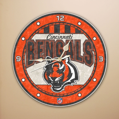 Cincinnati Bengals Art Glass Clock