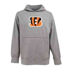 Cincinnati Bengals Big Logo Mens Signature Hooded Sweatshirt (Color: Gray) - Small