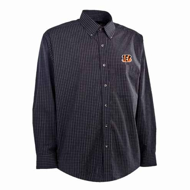 Cincinnati Bengals Mens Esteem Check Pattern Button Down Dress Shirt (Team Color: Black)