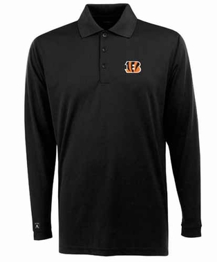 Cincinnati Bengals Mens Long Sleeve Polo Shirt (Color: Black)