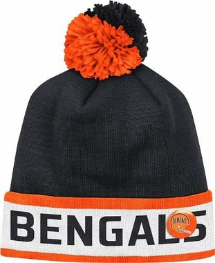 "Cincinnati Bengals Mitchell & Ness NFL Vintage ""Block"" Knit Hat w/ Button"
