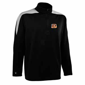 Cincinnati Bengals Mens Succeed 1/4 Zip Performance Pullover (Team Color: Black) - Large