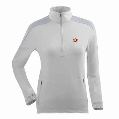Cincinnati Bengals Womens Succeed 1/4 Zip Performance Pullover (Color: White)