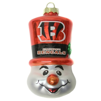 Cincinnati Bengals Tophat Snowman Glass Ornament