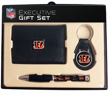 Cincinnati Bengals Trifold Wallet Key Fob and Pen Gift Set