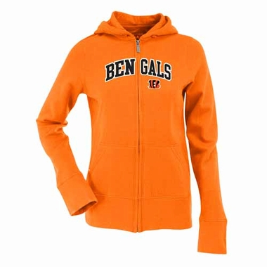 Cincinnati Bengals Applique Womens Zip Front Hoody Sweatshirt (Team Color: Orange)
