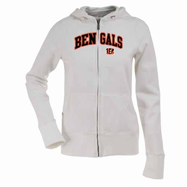 Cincinnati Bengals Applique Womens Zip Front Hoody Sweatshirt (Color: White)