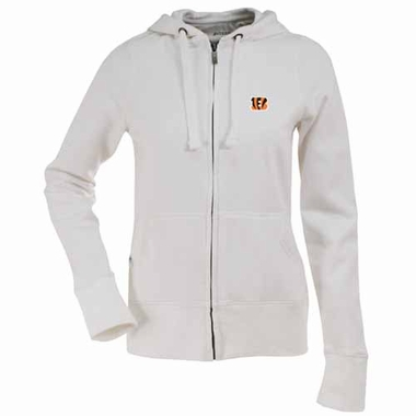 Cincinnati Bengals Womens Zip Front Hoody Sweatshirt (Color: White)