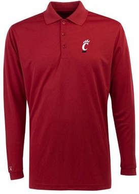 Cincinnati Mens Long Sleeve Polo Shirt (Team Color: Red)