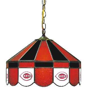 Cincinnati Reds 16 Inch Diameter Stained Glass Pub Light
