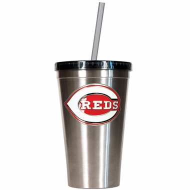 Cincinnati Reds 16oz Stainless Steel Insulated Tumbler with Straw