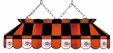 Cincinnati Reds 40 Inch Rectangular Stained Glass Billiard Light