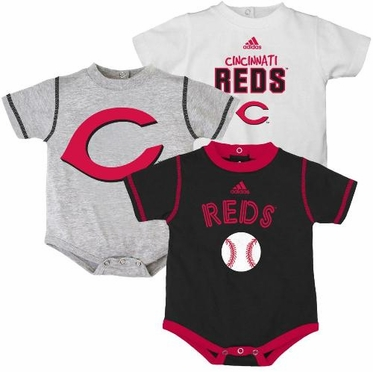 Cincinnati Reds Adidas 3 Pack Bodysuit Creeper Set
