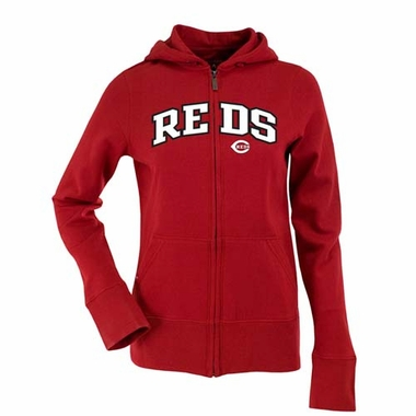 Cincinnati Reds Applique Womens Zip Front Hoody Sweatshirt (Team Color: Red)