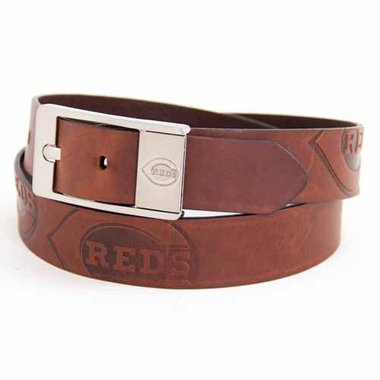 Cincinnati Reds Brown Leather Brandished Belt