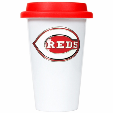 Cincinnati Reds Ceramic Travel Cup (Team Color Lid)
