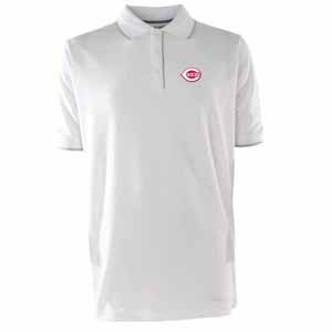 Cincinnati Reds Mens Elite Polo Shirt (Color: White) - Small