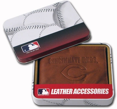 Cincinnati Reds Embossed Leather Bifold Wallet