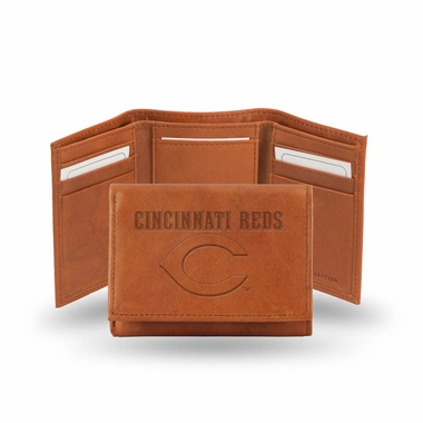 Cincinnati Reds Embossed Leather Trifold Wallet