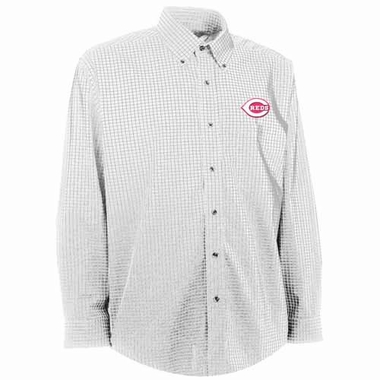 Cincinnati Reds Mens Esteem Check Pattern Button Down Dress Shirt (Color: White)