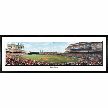 Cincinnati Reds First Pitch Framed Panoramic Print