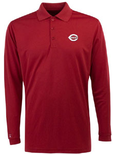 Cincinnati Reds Mens Long Sleeve Polo Shirt (Color: Red) - Small