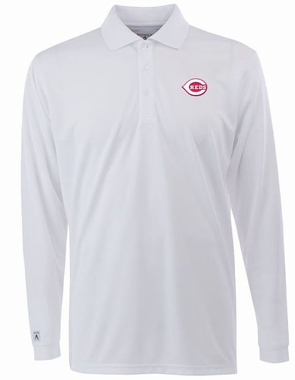 Cincinnati Reds Mens Long Sleeve Polo Shirt (Color: White)