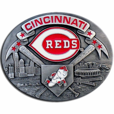 Cincinnati Reds Enameled Belt Buckle