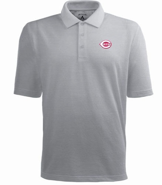 Cincinnati Reds Mens Pique Xtra Lite Polo Shirt (Color: Gray)