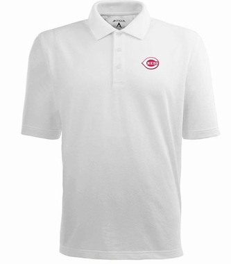 Cincinnati Reds Mens Pique Xtra Lite Polo Shirt (Color: White)