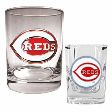 Cincinnati Reds Rocks and Shot Glass Set