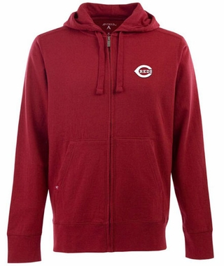 Cincinnati Reds Mens Signature Full Zip Hooded Sweatshirt (Team Color: Red)