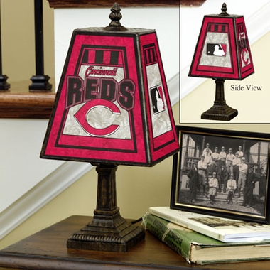 Cincinnati Reds Small Art Glass Lamp