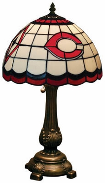Cincinnati Reds Stained Glass Table Lamp