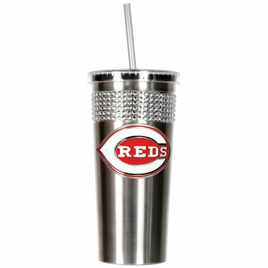 Cincinnati Reds Stainless Steel Bling Tumbler with Straw
