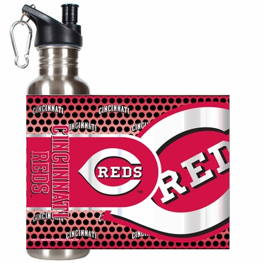 Cincinnati Reds Stainless Steel Water Bottle with Hi-Def Graphics