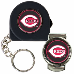 Cincinnati Reds Tape Measure Key Chain and Money Clip Set