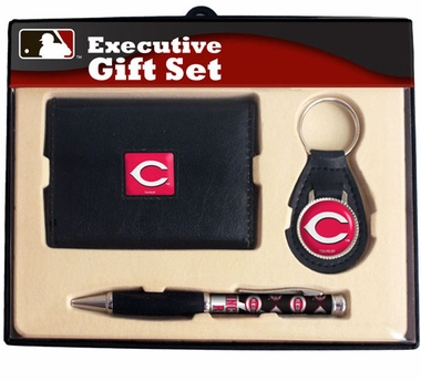 Cincinnati Reds Trifold Wallet Key Fob and Pen Gift Set