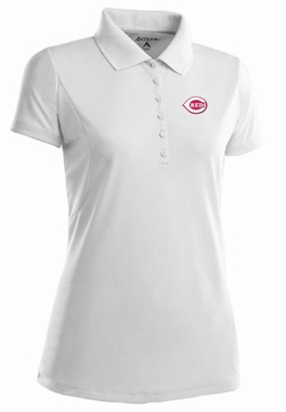 Cincinnati Reds Womens Pique Xtra Lite Polo Shirt (Color: White)