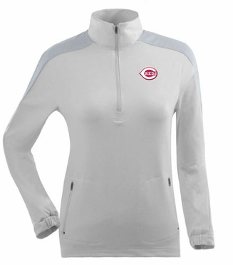 Cincinnati Reds Womens Succeed 1/4 Zip Performance Pullover (Color: White)