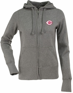 Cincinnati Reds Womens Zip Front Hoody Sweatshirt (Color: Gray)