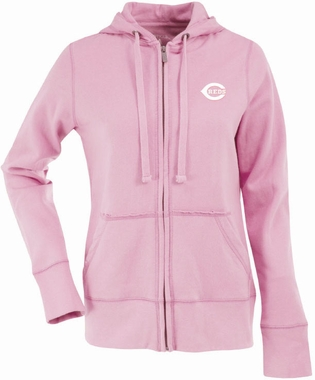 Cincinnati Reds Womens Zip Front Hoody Sweatshirt (Color: Pink)