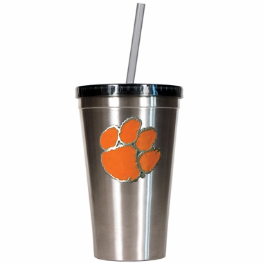 Clemson 16oz Stainless Steel Insulated Tumbler with Straw