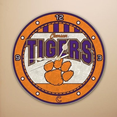 Clemson Art Glass Clock