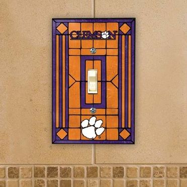 Clemson Art Glass Lightswitch Cover