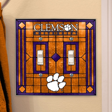 Clemson Art Glass Lightswitch Cover (Double)